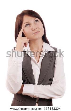 Young beautiful business woman thinking or making choice, isolated on white - stock photo