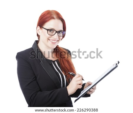 young beautiful business woman with glasses sign documents in her hand, isolated on white background - stock photo