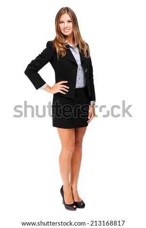 Young beautiful businesswoman full length