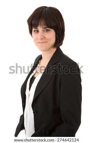 young beautiful businesswoman, isolated in white - stock photo