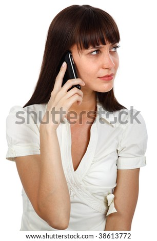 young beautiful businesswoman talking on the phone - stock photo