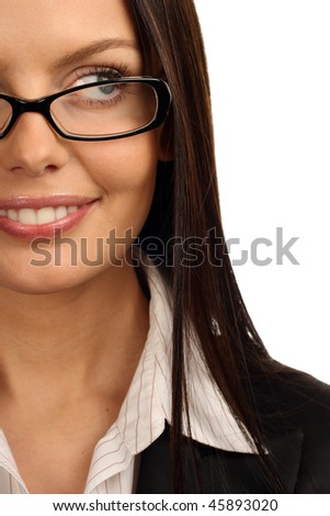 Young beautiful businesswoman wearing glasses. Isolated over white. - stock photo