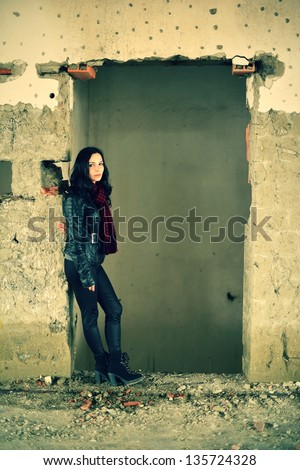 young beautiful caucasian brunette - stock photo
