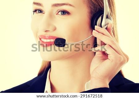 Young beautiful caucasian call center woman - stock photo
