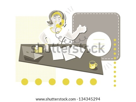 young beautiful caucasian type woman in her office answering phone call on little yellow dots with blank frames with place for your text cartoon illustration on white background raster image - stock photo
