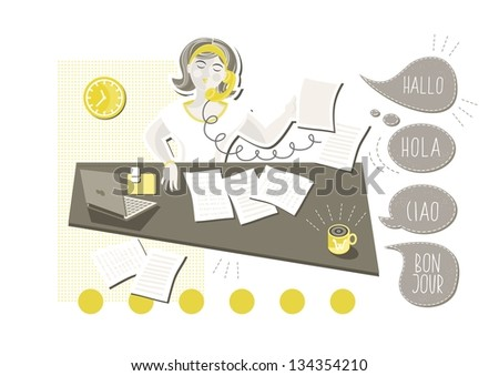 young beautiful caucasian type woman in her office doing paperwork answering phone call with talk bubbles in different languages cartoon illustration on white background raster version - stock photo