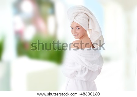 Young beautiful caucasian woman after bath - stock photo
