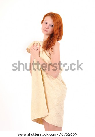 Young beautiful caucasian woman after bath. - stock photo