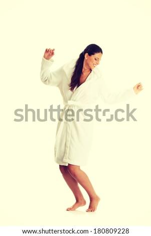 Young beautiful caucasian woman after bath full portrait  - stock photo