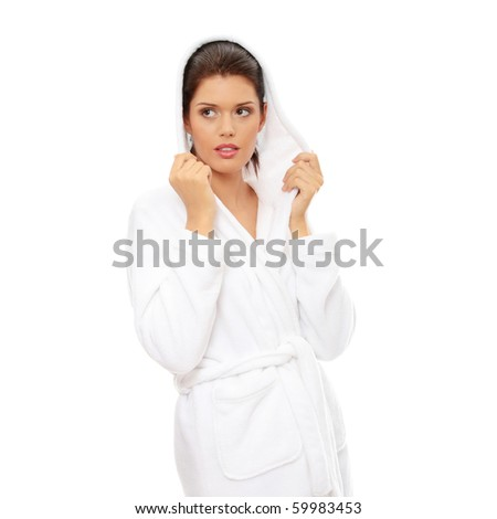 Young beautiful caucasian woman after bath isolated on white