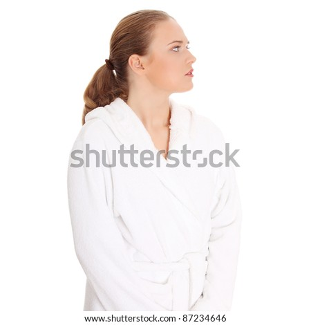 Young beautiful caucasian woman after bath, isolated on white - stock photo