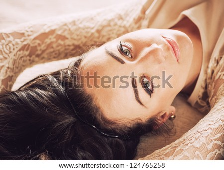 young beautiful caucasian woman portrait