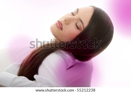 Young beautiful caucasian woman with long hairs - stock photo