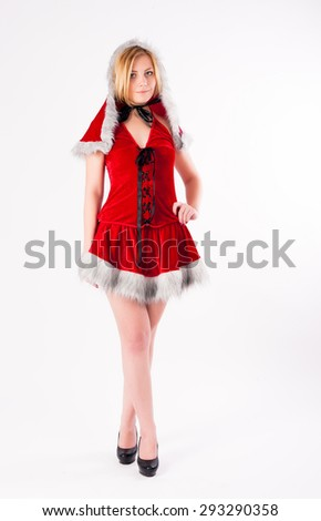 young beautiful Christmas woman. Isolated on white - stock photo