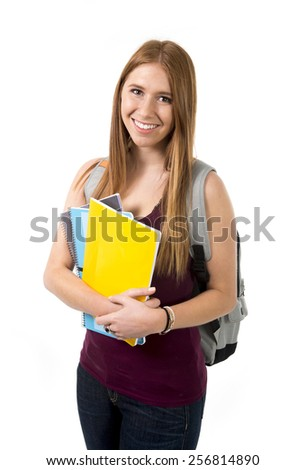 young beautiful college student girl carrying backpack posing happy, confident cheerful and relaxed in university education and academic success concept isolated on white background - stock photo