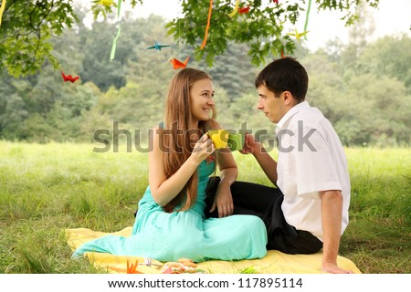 Young beautiful couple drinking tea on a picnic - stock photo