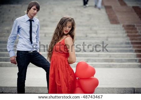 Young beautiful couple in love - stock photo