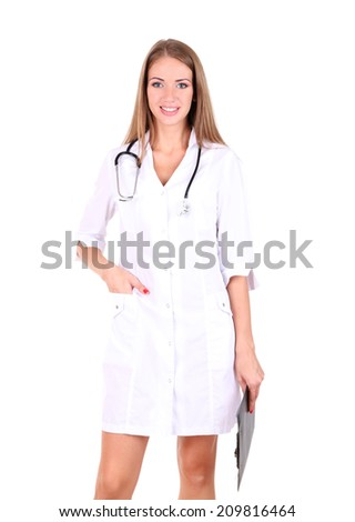 Young beautiful doctor holding folder isolated on white