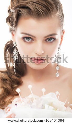 Young beautiful elegant haughty bride isolated on white background - stock photo