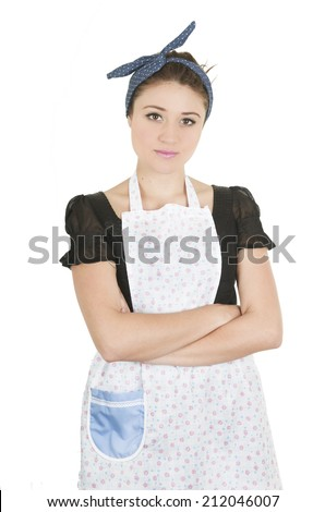 Young beautiful female cleaner with arms crossed isolated on white