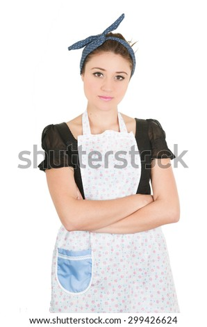 Young beautiful female cleaner with arms crossed isolated on white - stock photo