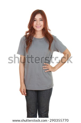 young beautiful female with blank gray t-shirt isolated on white background - stock photo