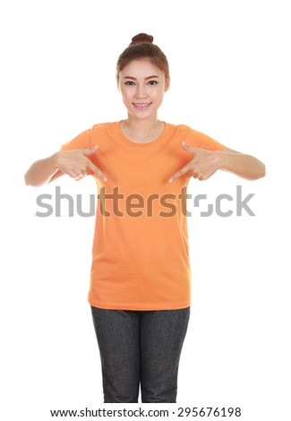 young beautiful female with blank orange t-shirt isolated on white background