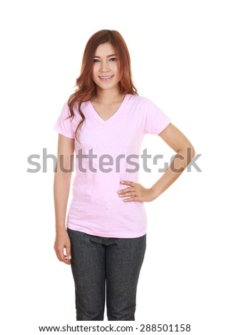 young beautiful female with blank pink t-shirt isolated on white background - stock photo