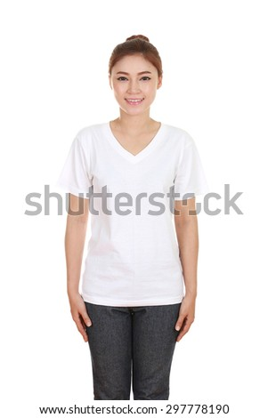 young beautiful female with blank t-shirt isolated on white background