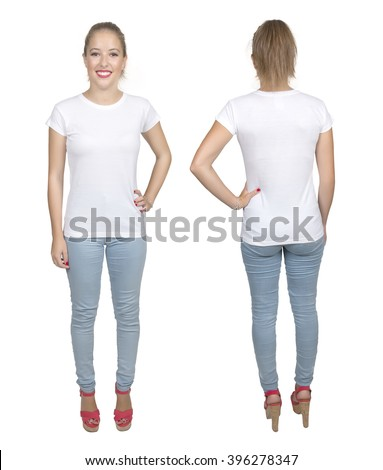 Young beautiful female with blank white shirt, front and back. Ready for your design or artwork.full body
