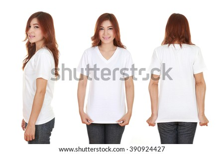 young beautiful female with blank white t-shirt isolated on white background