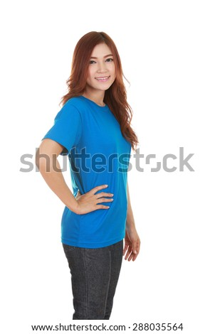 young beautiful female with blue t-shirt (side view) isolated on white background
