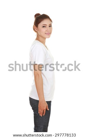 young beautiful female with t-shirt (side view) isolated on white background