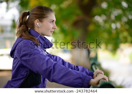 Young Beautiful Fit Woman Exercising in the Park. Active Lifestyle - stock photo