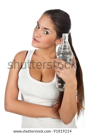young beautiful fitness girl with a bottle of water, the girl in the t-shirt with a bottle of still pure water, the image on a white background