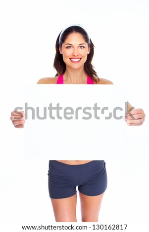 Young beautiful fitness woman. Isolated on white background.