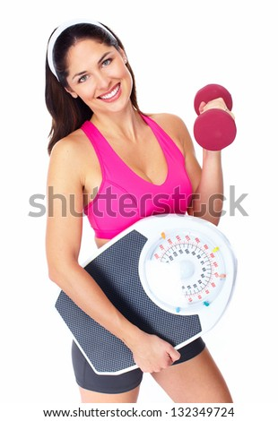Young beautiful fitness woman. Isolated on white background. - stock photo