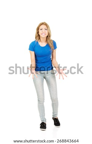 Young beautiful frustrated angry woman. - stock photo