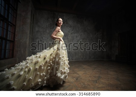 Young beautiful girl in the studio - stock photo