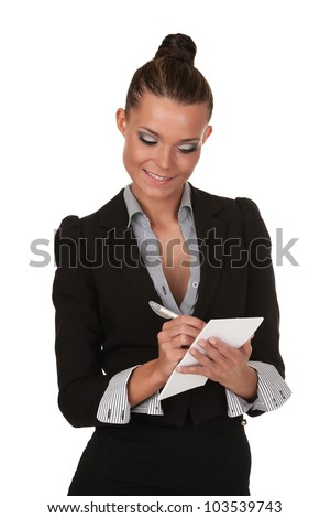 Young beautiful girl in the studio with note paper