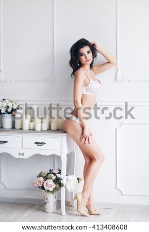 Young beautiful girl in underwear