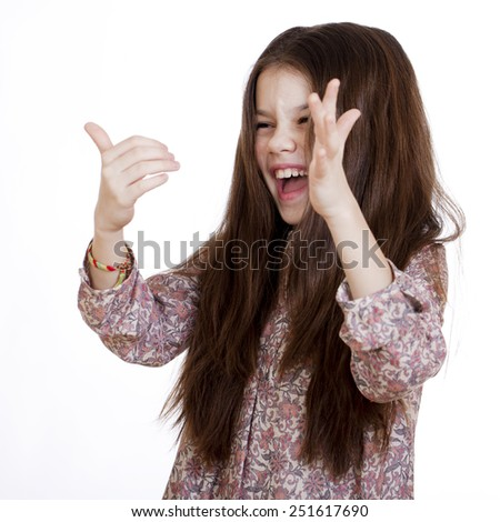 Young beautiful girl laughs a lot of fun, on white isolated background - stock photo