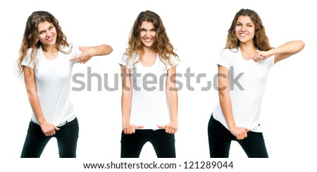 Young beautiful girl posing with blank white shirts. - stock photo
