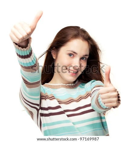Young beautiful girl showing two thumbs up, isolated on white - stock photo
