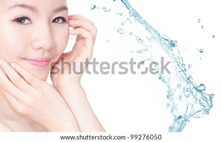 Young beautiful girl smile face with healthy skincare with splash of water background concept for skincare and moisture , model is a asian beauty
