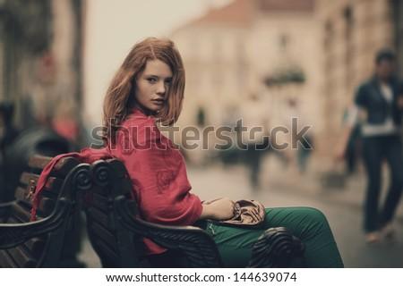 young beautiful girl urban portrait - stock photo