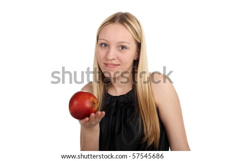 young beautiful girl with a big red apple