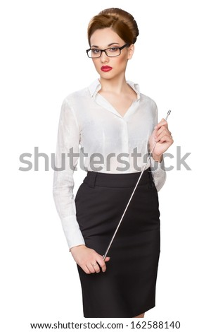 Young beautiful girl with a pointer in points - stock photo