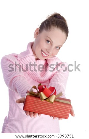 Young beautiful girl with gift