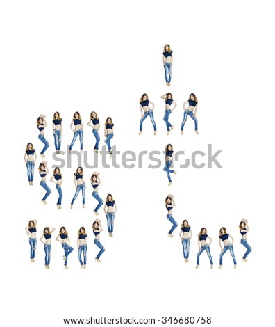 Young beautiful girls in a blue jeans isolated on white background